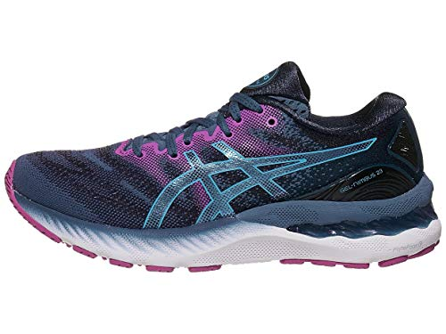 ASICS Women's Gel-Nimbus 23 Running Shoes, 5M, Grand Shark/Digital Aqua