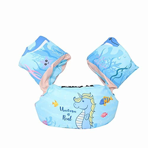 GWN Dibujos Animados Niños pequeños Brazo de natación Chaleco Salvavidas Flotabilidad Circular Caballito de mar Azul Longitud: 86 cm