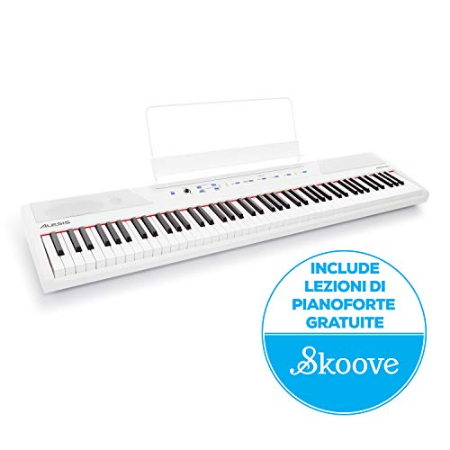 Alesis Recital White - Pianoforte Digitale, Tastiera per Principianti con 88 Tasti Semi Pesati di Dimensioni Standard, Alimentazione, Altoparlanti Integrati e 5 Suoni di Qualità