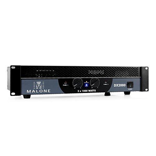 Malone DX2000 - PA-Endstufe, PA-Verstärker, 2 x 1000 Watt max., brückbar, 2/1 Kanal-Betrieb, 48 cm Rackeinbau, Ground- / Lift-Umschaltung, 2 x 6,3 mm-Klinken-Eingang, Cinch-Line-In, schwarz