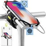 Bone Collection 2-in-1 Smartphone sowie Powerbank (nicht enthalten) Halterung, Face ID kompatibel Fahrrad Handyhalterung für Vorbau 4-6,5 Zoll Smartphones, Ultraleicht - Bike Tie Pro Pack Schwarz