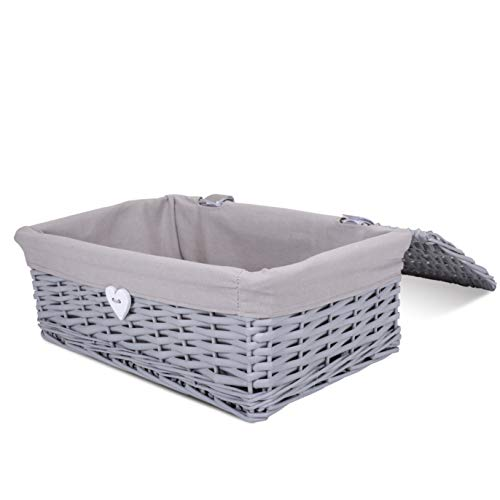 Grey Painted Lid Wicker Storage Collection Hamper Wicker Basket (Medium)