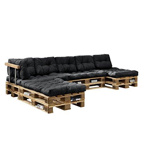 [en.casa] Euro Paletten-Sofa - DIY Möbel - Indoor Sofa mit Paletten-Kissen/Ideal für Wohnzimmer - Wintergarten (4 x Sitzauflage und 6 x Rückenkissen) Dunkelgrau