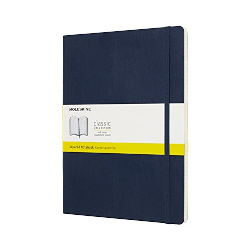 Moleskine Notebook Classic Pagina a Quadretti, Taccuino Copertina Morbida e Chiusura ad Elastico, Colore Blu Zaffiro, Dimensione Extra Large 19 x 25 cm, 192 Pagine
