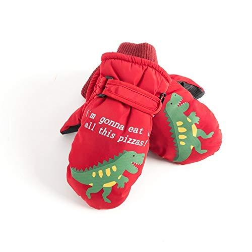 CNZXCO 2ST Winter-warme Jungen und Mädchen wasserdichte Handschuhe Kinder Skihandschuh niedlichen Cartoon-Handschuhe Baby im Freien Schnee Handschuhe (Color : Dinosaur Red, Size : 5-10 Years Old)
