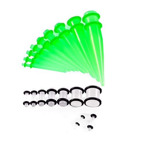 YZRDY 18Piece / Set Acrílico del Oído Estiramiento Kit Medidor Oreja Dilatadores Enchufe Y El Sistema del Túnel Accessories (Main Stone Color : 14G 00G, Metal Color : Glow In Dark)