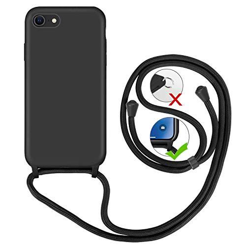 GoodcAcy Funda para iPhone 6/7/8 Plus Case,con Correa Colgante Ajustable Cadena Cordón Premium Antipolvos sobre Carcasa de Silicona Líquida Suave,Negro