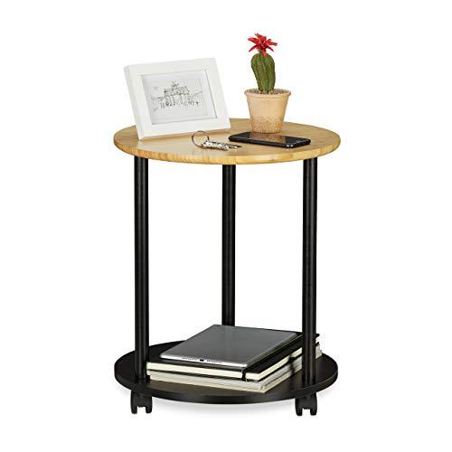 Relaxdays Bijzettafel rond, met wieltjes, verrijdbaar, modern design, bamboe, krantenvak, HxD: 49x40 cm, zwart/naturel, 49 x 40 x 40 cm