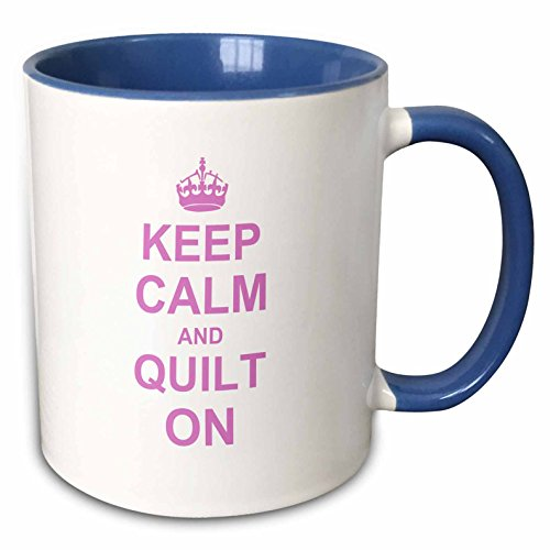 3dRose Keep Calm Carry on Quilting-Quilter Gifts Mug, 11 oz, Blue