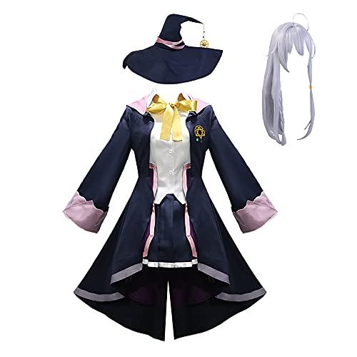 HonorBoard Errante Bruja El Viaje de Uniformes Elaina Traje japonés de Cosplay del Anime La Cenicienta Bruja Vestido de Cosplay del Equipo del Traje con Accesorios/Peluca para Halloween