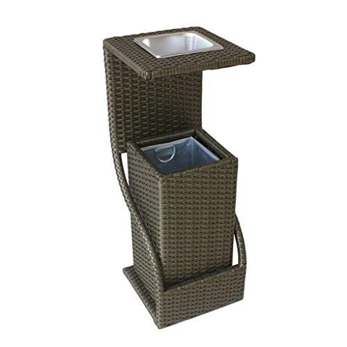 Poubelle Poubelle carrée peut Wastebasket avec poubelle extérieure de cendrier en plein air de panier de stockage de baril en plastique de baril Poubelles (Color : Brown, Taille : 11in)