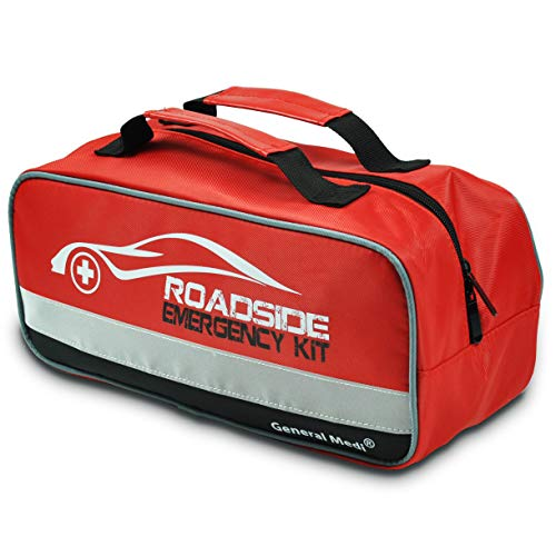 General Medi 127-Pieces Roadside Car Emergency Kit Include Mini First Aid Kit, Jumper Cables,Tow Rope, Bandage, Safety Vest, Emergency Triangle, All in One Pack