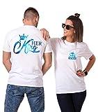 Daisy for U King Queen Shirts - Camisetas de manga corta para parejas, diseño del rey reina Queen2 blanco-azul (mujer). S