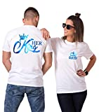 Daisy for U King Queen Shirts Couple Shirt Pärchen T-Shirts Paar Tshirt König Königin Kurzarm 1 Stücke-King-Weiß-blau(Herren)-M