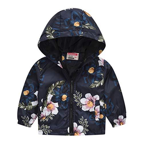 MRULIC Kinder Mädchen Jungen Floral Bedruckter Frühling mit Kapuze Licht Mantel Reißverschluss Jacke Tops Sonnenschutz Kleidung 1-6 Jahre(A-Schwarz,80-90CM)