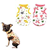 PETCARE 2 PCS Cotton Dog Shirts Pet Shirts Cartoon Print Dog T-Shirt Vest Pet Clothing Puppies Clothes for Small Dogs Doggie Spring Summer Apparel (M(Chest: 37cm/14.57inch), 2 STYLE)