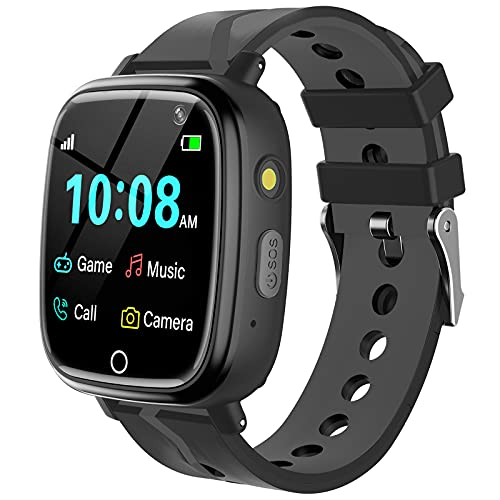 Kids Smart Watch for Boys Girls - Kids Smartwatch with Call 7 Games Music Player Camera SOS Alarm Clock Calculator 12/24 hr Touch Screen Children Wrist Watch for Kids Age 4-12 Birthday Gifts (Black)