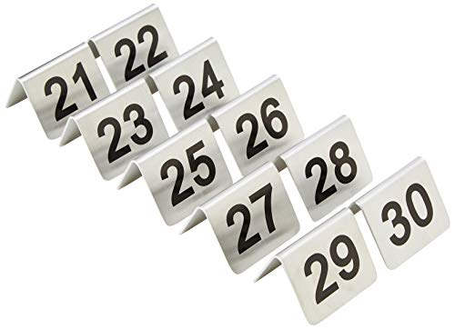 20 Restauration u048 Table chiffres, Lot de 10, 21–30, en acier inoxydable (Lot de 10)