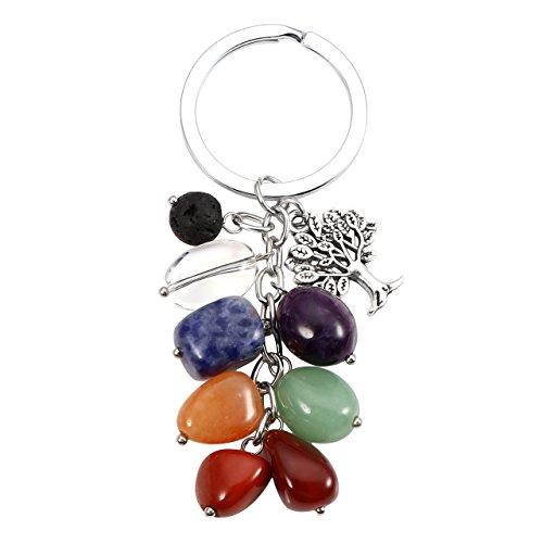 MANIFO - Llavero de cristal natural de 7 chakras, con piedra...