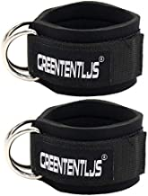 Greententljs Ankle Workout Strap Attachment for Exercise - Ankle Strap Cable Attachment Cuffs Home Gym Fitness Premium Padded Bar for Leg and Glute fit Men and Women (2 Pcs, Black)