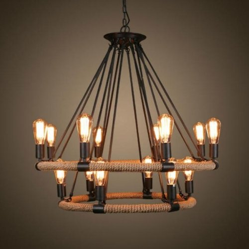 Lightinthebox Vintage Metal Large Chandelier With 14 Lights Painted Finish Industrial Black Edison Lights Rustic Pendant Ceiling Chandelier