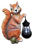 Desktop-Skulptur Tier Solar LED Laterne Dekoration Eichhörnchen Statue Garten Skulptur Gartenlicht Outdoor Figuren Handwerk Geschenke-18 * 13 * 28cm