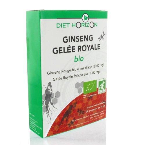 Diet horizon - Ginseng gelée royale bio - 20 ampoules - Fortifiant et reconstituant