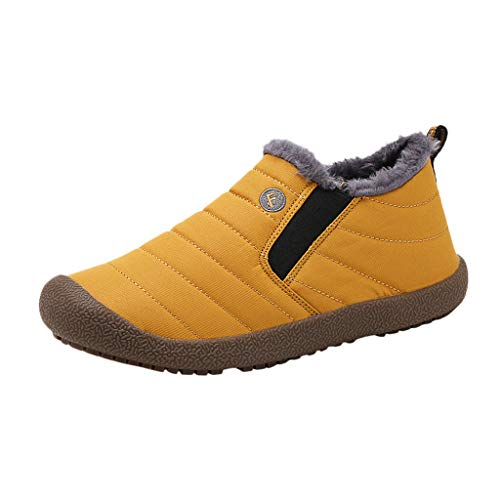 Yowablo Damen Winterstiefel Wasserdicht Warm gefütterte Schneestiefel Winterschuhe Winter Kurzschaft Boots Schuhe,Sneaker Damen (37 EU,Damen-Gelb)