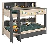 Jugendmöbel24.de Etagenbett braun/grau inkl Regale + Bettschubkasten + 2X Lattenrostplatte Kinderzimmer Doppelbett Hochbett Spielbett Stockbett Kinderbett