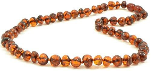 Baltische Bernstein Halskette für Erwachsene - 45 cm - Handgefertigt aus zertifizierten Baltischen Bernsteinperlen