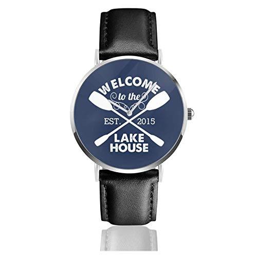 Willkommen im Lake House Rustikale Marineuhr Quarzwerk Wasserdichtes Lederarmband für Männer Frauen Einfache Business Casual Uhr