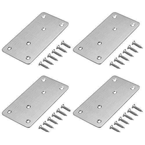 4 placas de conexión planas de acero inoxidable, para reparación de esquinas, placas perforadas, placa de conexión, 98 x 49 mm