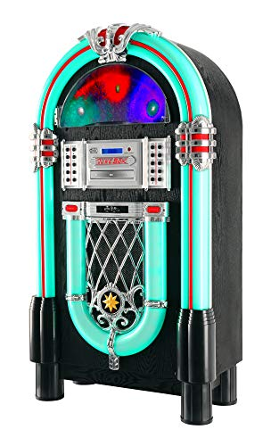 Beatfoxx GoldenAge XXL-Jukebox mit Plattenspieler, CD-Player, UKW-Radio, Bluetooth - Retro Musikbox mit LED-Beleuchtung und Holz-Gehäuse - USB/SD-Slot, AUX-Eingang, MP3-Player und Handy-Ablage