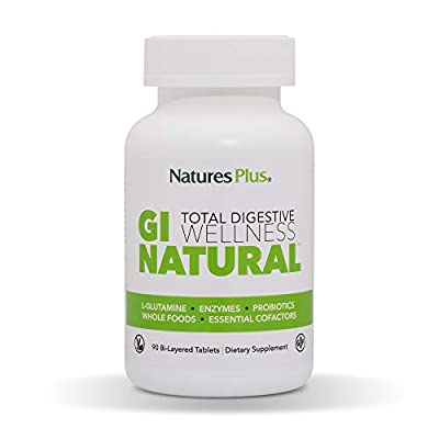 NaturesPlus GI Natural Total Digestive Wellness - 90 Vegetarian Tablets, Bilayer - Natural Gut Health Supplement - Probiotics, Prebiotics, Enzymes - Gluten-Free - 30 Servings