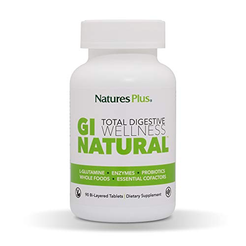 NaturesPlus GI Nutra Total Digestive Wellness - 90 Vegetarian Tablets, Bilayer - Natural Gut Health Supplement, Probiotics, Prebiotics, Enzymes - Gluten Free - 30 Servings