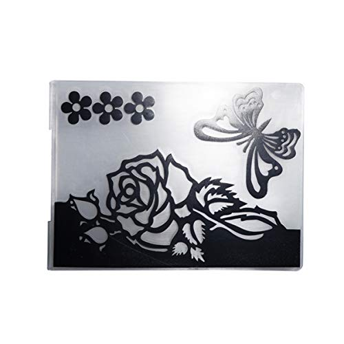 HEALLILY Troqueles de Corte de Plástico Plantilla Rosa Y Molde de Plantilla de Mariposa para Hacer Tarjetas Álbum Álbum Scrapbooking Diy Arte Artesanía