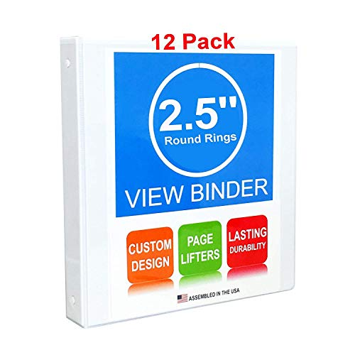3 Ring Binders, 2.5 Inch Round Rings, White, Clear View, Pockets, 12 Pack (3.2' Spine)