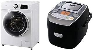 【セット販売】アイリスオーヤマ ドラム式洗濯機 温水洗浄機能付き 左開き 幅595mm 奥行672mm 7.5kg FL71-W/W & 炊飯器 圧力IH式 3合 銘柄炊き分け機能付き 大火力 ブラック RC-PA30-B セット