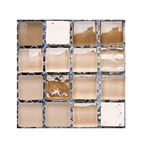 Leileixiao 10 pegatinas de pared 3D autoadhesivas de PVC mosaico azulejos DIY papel pintado decoración del hogar (color: MSC050)