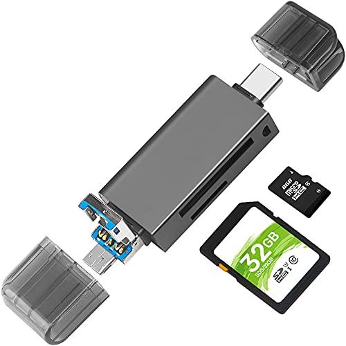 Lector de Tarjetas de Memoria SD/Micro SD, BorlterClamp 3 en 1 Lector de Tarjetas de Memoria con Adaptador USB C / Micro-USB Compatible con PC, Portátil, MacBook, Smartphone (Gris Oscuro)