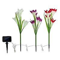 Tooart 屋外ソーラーガーデンライト-3パックソーラーパワーライト、12ユリの花、ガード用マルチカラーLEDソーラー装飾ライト
