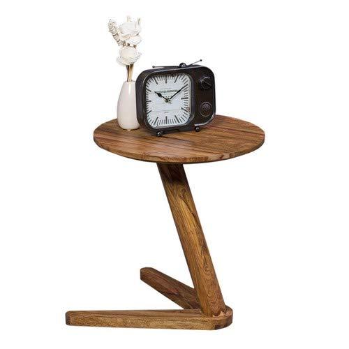 WOHNLING Beistelltisch Massiv-Holz Sheesham Design Wohnzimmer-Tisch 45 x 45 cm rund Couchtisch Natur-Holz dunkel-braun Nachttisch Landhaus-Stil Nachtkommode Untergestell V-Form Telefontisch 50cm hoch