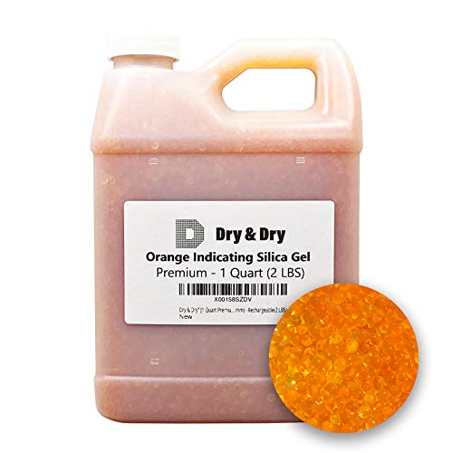 Dry & Dry [1 Quart Premium Orange Indicating Silica Gel Desiccant Beads(Industry Standard 2-4 mm) - Rechargeable Silica Gel Beads(2 LBS)
