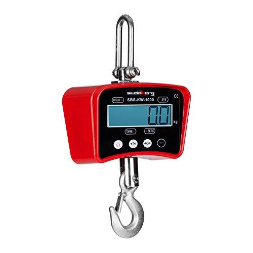 Steinberg Crochet Peseur Balance à Grue Professionnelle Rouge SBS-KW-1000R (1.000 kg / 0,5 kg, kg/lbs, aluminium moulé, batterie 6V/4Ah, écran LCD avec rétroéclairage)