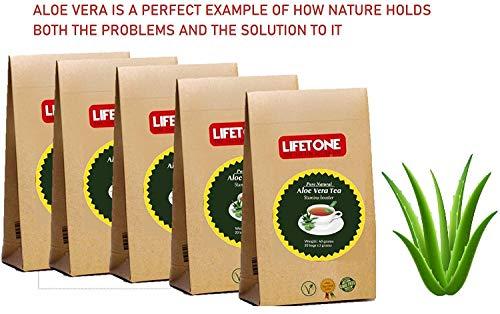 lifetone the tea for better life, Té de Aloe Vera | Delicioso té de limpieza | Té laxante | Refuerzo del sistema inmunitario | Té de desintoxicación | 100 bolsitas de té 200 gramos | Paquete de 5