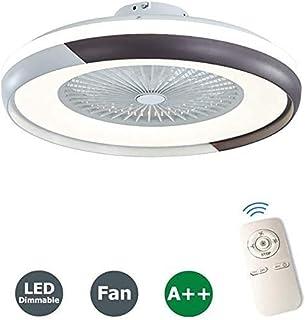 Ventilador de Techo con Luz de Techo LED, Ventilador Invisible Creativo, Control Remoto de 3 Velocidades, 3 Colores Regulables, Lámpara de Araña en el Dormitorio y la Sala de Estar (Black)