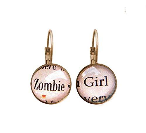 Sunshine Zombie Girl, Zombie Pendientes, Zombie Joyas, Walking Zombie, Dead Zombie, Dome Glass Ornaments, Regalos para Ella