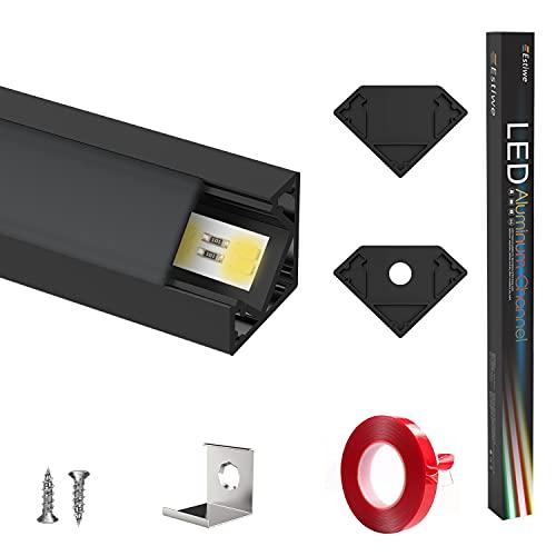 Perfil LED negro mate, 10 x 1 m, perfil de aluminio 45°, canal LED para tiras LED (hasta 12,5 mm), riel LED con adhesivo 3M, tapas finales, clips de fijación de metal, 10 unidades