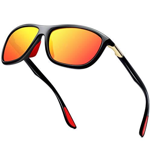 Óculos de sol polarizados KANASTAL Rectangle Sports, masculino, feminino, leve, feminino, ciclismo, espelhado, óculos de sol com proteção UV Lente vermelha