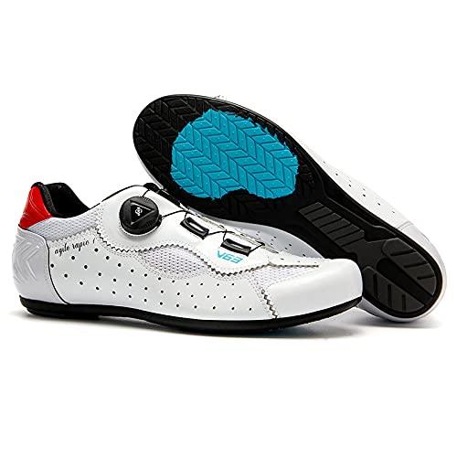 KUXUAN Calzado de Ciclismo para Hombre-Calzado de Ciclismo de Carretera Sin Bloqueo para Mujer-Calzado de Bicicleta de Montaña Calzado de Ciclismo Transpirable,White-44EU